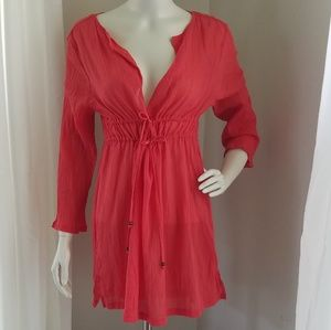 NWT Capelli sheer burnt orange swim cover up
